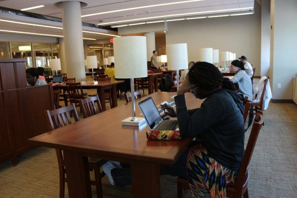 Picture of students doing research