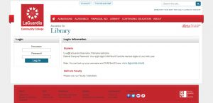 Screen shot of log in screen for access to the Library's resources