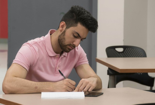 Picture of a student working