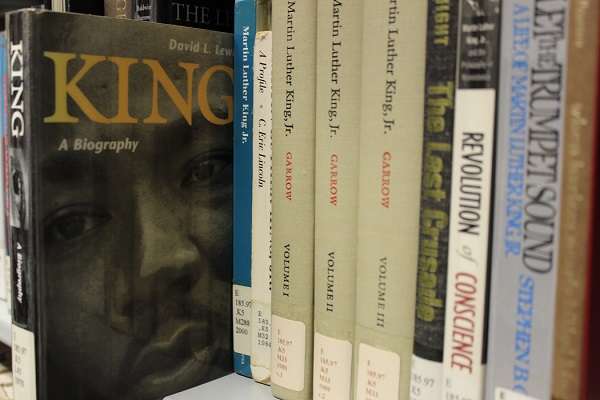 Picture of books on Martin Luther King in the Stacks