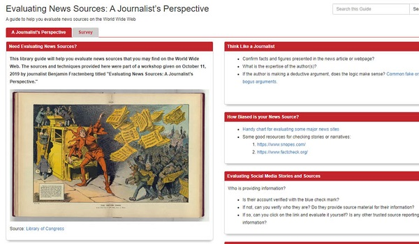 Evaluating news sources homepage
