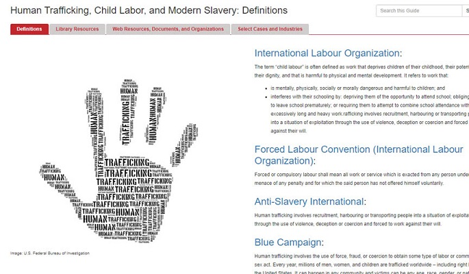 Human Trafficking Guide homepage