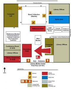 Map of the Library indicating the Circulation Desk