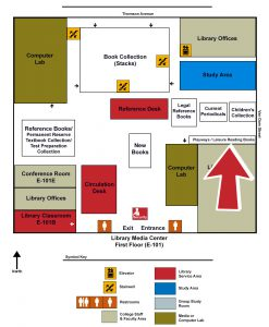 Map of the Library indicating the Leisure Reading area