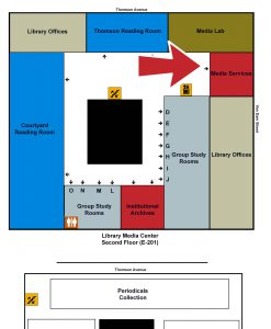 Map of the Library indicating Media Services
