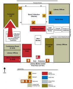 Map of the Library indicating the Computer Lab