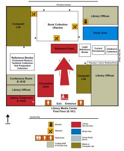 Map of the Library indicating the Reference Desk