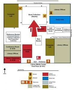Map of the Library indicating the Stacks