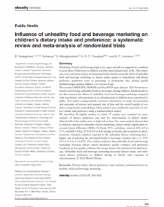 Influence of Unhealthy Food and Beverage Marketing on Children's Dietary Intake and Preference: A Systematic Review and Meta-analysis of Randomized Trials article