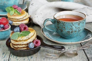 tea cup and snacks
